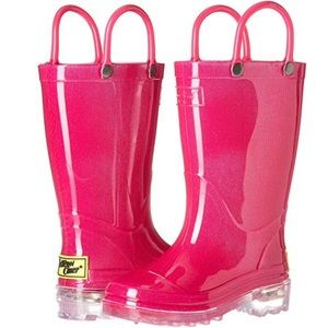 WESTERN CHIEF LIGHT UP PINK RAIN BOOTS NWOT